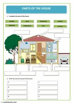parts of the house Language: Grade/level: grade School subject: English as a Second Language (ESL) Main content: The house Other contents: parts of the house English Worksheets For Kids, 1st Grade Worksheets, English Teaching Materials, Teaching English, Primary Teaching, Teaching Kids, English Lessons, Learn English, Ingles Kids