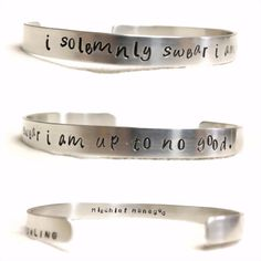 I solemnly swear i am up to no good mischief managed quote book literature custom hp aluminum hand stamped bracelet