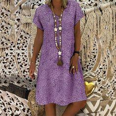 Plus Size Hollow Out Straight Dress Women Vintage Short Sleeve Knee Length Dress Summer Loose Dresses Size S Color Blue Casual Formal Dresses, Elegant Dresses, Short Sleeve Dresses, Dresses With Sleeves, Sexy Dresses, Dress Casual, Pretty Dresses, Dresses Dresses, Cheap Dresses