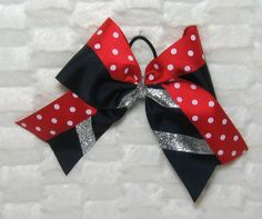 Big Cheer Bow  Extra Large Black Bow Trimmed in by BonnieJBoutique, $13.00