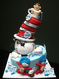 Topsy turvy Cat In The Hat cake