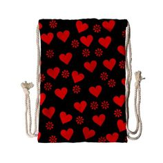 Flowers And Hearts Drawstring Bag (Small)