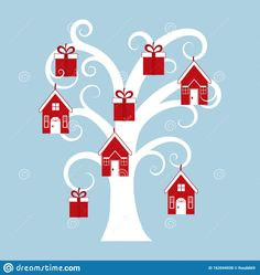 Holiday Tree With Houses And Gifts. Stock Vector - Illustration of holiday, design: 162044938 Holiday Tree, Winter Collection, Illustration, Gifts, Design, Presents, Xmas Trees, Illustrations, Design Comics