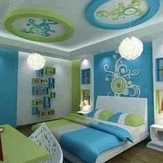 Interesting White, Blue & Green bedroom