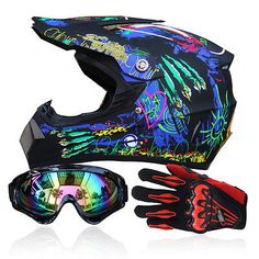 Motocross + Goggles+Gloves Off-Road Motorcycle ATV Helmets Dirt Bike Gear S-XL