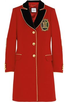 Moschino Velvet-trimmed wool-crepe coat