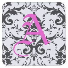 Black and White Damask Pattern Square Paper Coaster