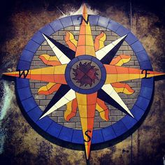 """PAVERART creates custom Compass Rose designs for any size project! Our new """"After Dark Series"""" compass rose designs will GLOW in the night!"""