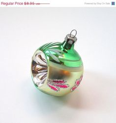 SALE Vintage Christmas Ornament Green by TheVintageResource, $7.16