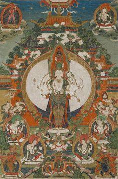 Tibetan Buddhist Thangka of 1,000 Arms Chenrezig, Tibet, 18th century.