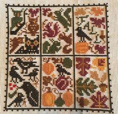 completed cross stitch Prairie School Halloween October sampler