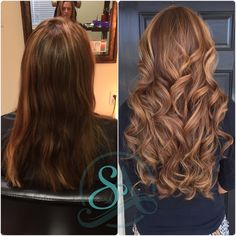 Fusion extensions for volume and length. www.salonadelle.com Balayage color with soft warm brown tones