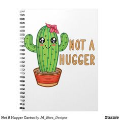 Shop Not A Hugger Cactus Notebook created by JA_Bhez_Designs. Shirt Embroidery, Lined Page, Custom Notebooks, Animal Skulls, Cute Creatures, Pink And Green, Cactus, Personal Style, Doodles