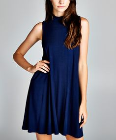 Look at this Love, Kuza Navy Mock Neck Sleeveless Dress on #zulily today!