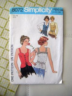 Simplicity 8072 Vintage Sewing Pattern LOVELY Summer Strapped Corset Laced Front Peplum or Drawstring Bustier, Top Set Corset Pattern, Jacket Pattern, Top Pattern, Simplicity Sewing Patterns, Vintage Sewing Patterns, Clothing Patterns, Blouse Patterns, Sewing Ideas, Vintage Shirts