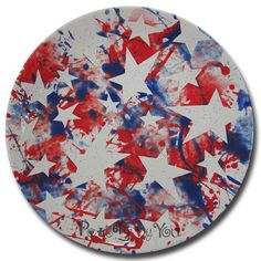 Splatter always works for a of July. - Crafts For Toddlers Americana Crafts, Patriotic Crafts, July Crafts, Pottery Painting, Ceramic Painting, Painted Pottery, Pottery Place, Color Me Mine, Pottery Designs