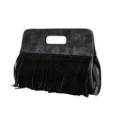 Lam Gallery Women's Fringe Clutch Tassel Purse Faux Suede Leather Handbag Shoulder Crossbody Chain Bag Gray: Handbags: Amazon.com