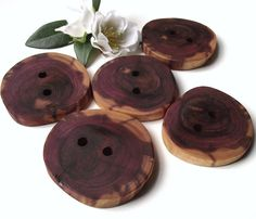 Wood Buttons  5 Cedar Wooden Tree Branch Buttons by ARemarkYouMade, $10.75
