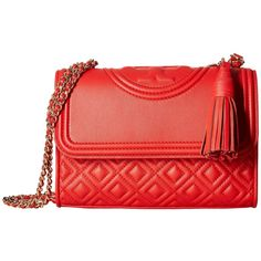 Tory Burch Fleming Small Convertible Shoulder Bag (Red Volcano)... (€395) ❤ liked on Polyvore featuring bags, handbags, shoulder bags, tory burch shoulder bag, shoulder handbags, shoulder strap handbags, man leather shoulder bag and tory burch purse