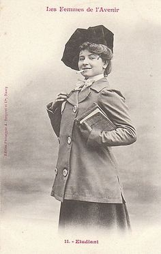 "1902. A French trading card series of ""women of the future."""