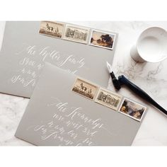 """It's a calligraphy kind of Saturday! Wrapping up lots of calligraphy this weekend. This combo is such a classic: white ink on soft gray envelopes!…"""