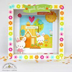 Doodlebug Design Inc Blog: Bunnyville Collection: Shadowbox Framed Bunny Home Decor by Monique