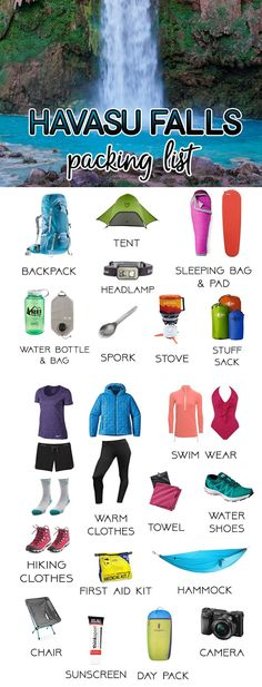 Get ready for your Havasu Falls backpacking trip with our complete Havasu Falls packing list featuring the camping gear you need for a fun adventure. My Complete Havasu Falls Packing List (Updated for Checklist Camping, Camping Bedarf, Camping Packing, Camping Guide, Backpacking Tips, Camping Essentials, Hiking Gear, Hiking Backpack, Camping Ideas