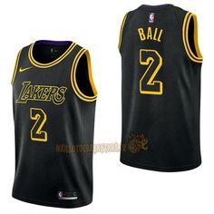 7779b5093 Vente Nouveau Maillot NBA Nike Los Angeles Lakers NO.2 Lonzo Ball Nike Noir  Ville