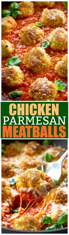 These Chicken Parmesan Meatballs are an Italian dinner that are ready in a snap. Seasoned meatballs with Panko crumbs for that crunch you crave when you eat Chicken Parmesan. Serve over noodles with garlic bread and a salad for a delicious dinner. #recipe #chickenparmesan #meatballs