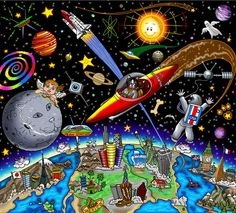 H&S Art Corp. - Charles Fazzino Charles Fazzino - Sam Does Outer Space Serigraph] - Part 1 of Sam Katz Suite of 2 (Sam Does The City) Year: 2005 Size: 12 x Science Fiction Art, Science Art, Save Environment Poster Drawing, Energy Conservation Poster, Planet Drawing, Drawing Competition, Nurse Art, Kindergarten Art Projects, Composition Art
