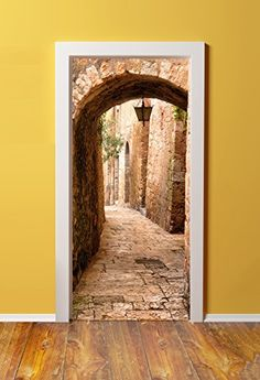 Windowpix DoorPix / 36 x 80 Door Mural Wrap Glossy Bubble Free Sticker Jerusalem Stone Passage to The Western Wall - Peel and Stick - Easy-to-Clean, Durable Door Murals, Mural Wall Art, 3d Wall, Door Stickers, Wall Stickers Murals, Western Wall, 3d Home, Western Homes, 3d Prints