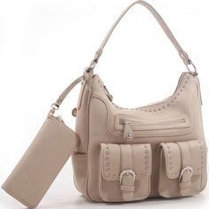 Jacqueline Concealed Carry Hobo Bag w/Matching Wallet - Tan