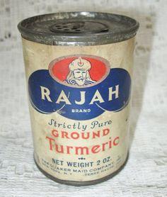Vintage RAJAH Ground Turmeric Spice Tin 2 oz ~ Quaker Maid Co Advertising ~ $9.00   CLICK HERE: http://deannamoyers.ecrater.com/p/17911524/vtg-rajah-ground-turmeric-spice