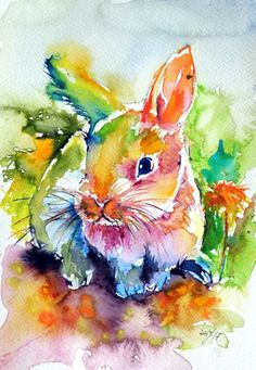 Cute rabbit - Watercolor by Kovács Anna Brigitta