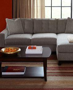 Clarke Fabric Sectional Sofa Living Room Furniture Sets & Pieces - Living Room Furniture - furniture - Macy's
