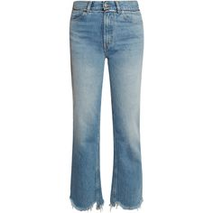 Golden Goose Deluxe Brand Komo raw-hem straight-leg jeans (1.440 DKK) ❤ liked on Polyvore featuring jeans, light denim, high-waisted jeans, ripped denim jeans, high waisted blue jeans, high waisted distressed jeans and distressed straight-leg jeans