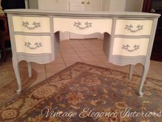 French Provincial writing desk painted in Annie Sloan Paris Grey and Old White. Annie Sloan Chalk Paint Colors, Annie Sloan Painted Furniture, Annie Sloan Paints, Painted Desks, Chalk Paint Desk, Annie Sloan Paris Grey, Girl Desk, Painted Coffee Tables, Hutch Makeover