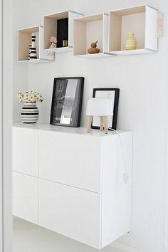 shelves with Prank Ikea boxes Ikea Boxes, Diy Regal, Diy Wall Shelves, Box Shelves, Creation Deco, Interior Decorating, Interior Design, Home And Deco, Scandinavian Home