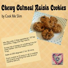 Chewy Oatmeal Raisin Cookies – Cook Me Slim Slimming World Desserts Puddings, Slimming World Deserts, Slimming World Tips, Slimming World Recipes Syn Free, Slimming Eats, Slimming World Biscuits, Slimming World Cookies, Oatmeal Raisin Cookies, Baked Oatmeal