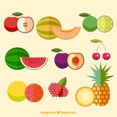 Varias frutas planas deliciosas Vector Gratis