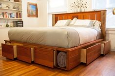 Platform Bed Woodworking Plans: You can build this king-size bed, which features a royal amount of space for sleeping and storage. Description from pinterest.com. I searched for this on bing.com/images