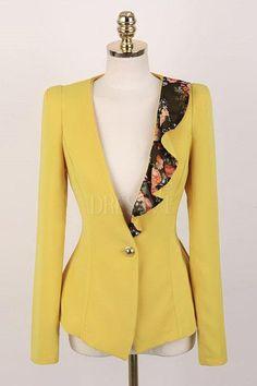 Yellow/Black Lacework Slim Blazer