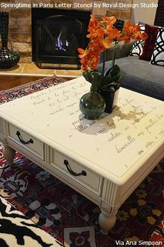 Lettering and Typography Stencils on Furniture.  Love this idea for a favorite Bible verse or song.