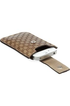 GUCCI  Monogrammed leather iPhone sleeve  £112.50