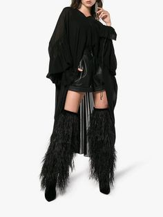 Saint Laurent Black Yeti 110 Ostrich Feather over-the-knee Boots - Farfetch Brown Boots, Black Boots, Looks Adidas, Yves Saint Laurent, Ostrich Feathers, Couture, Over The Knee Boots, Women Wear, Feminine