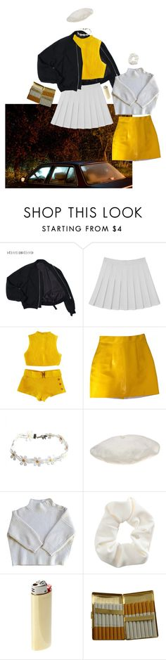 """""""Mellow Yellow"""" by valiumbaby ❤ liked on Polyvore featuring American Apparel, Betmar, Vanessa Bruno, Topshop, Vetements and KING"""