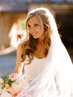 Bride's half up long blonde curls bridal hair Toni Kami Wedding Hairstyles ♥ ❷ Wedding hairstyle ideas Beautiful