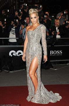 Rita Ora showcases slender legs in diamond dress for the GQ Awards #dailymail