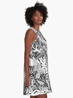 Black and white tropical and monstera leaves designer dress by Alicja August
