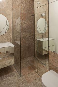 łazienka / bathroom by Tatemono in Warsaw. Warsaw, Mirrors, Small Spaces, Minimalism, Toilet, Stone, Interior Design, Bathroom, Elegant